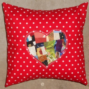 red polka dot heart pillow cover