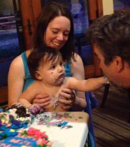Mary sharing cake
