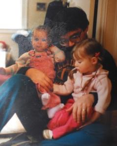 Dad snuggling with Jasmine