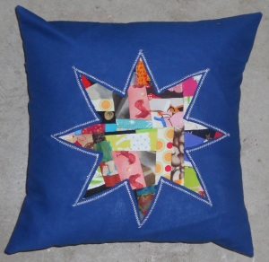 crumb star on blue finished pillow sham