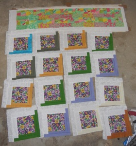 pansies and charms on floor