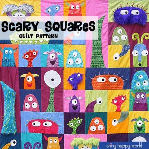 scary monster squares quilt