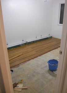 installing wood floor in studio