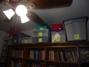 above shelves