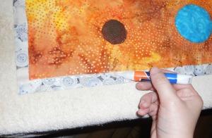 glue basting teal quilt
